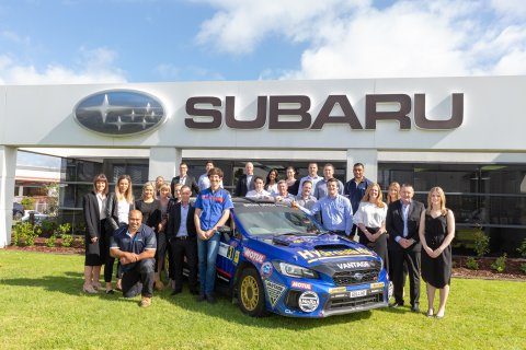 Subaru brand ambassador Ben Hunt officially receives the keys to his Subaru WRX STI from the Subaru of New Zealand team.