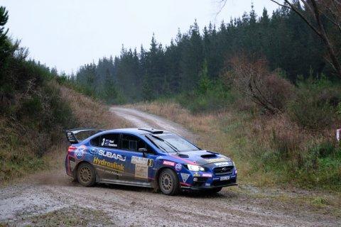 CAPTION Ben Hunt and Tony Rawstorn, in the Subaru WRX STi, on their way to second place in the third round of the Brian Green Property Group New Zealand Rally Championship in June. PHOTO: GEOFF RIDDER.