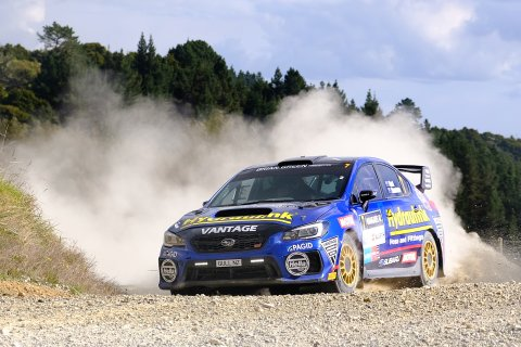 Subaru WRX STI driver Ben Hunt and co-driver Tony Rawstorn storm to a runner-up result at the ENOS International Rally of Whangarei this weekend. PHOTO: GEOFF RIDDER.