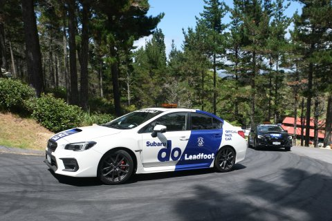 Subaru's performance cars the Levorg and WRX were the official pace cars for the Leadfoot Festival. PHOTO: GEOFF RIDDER.