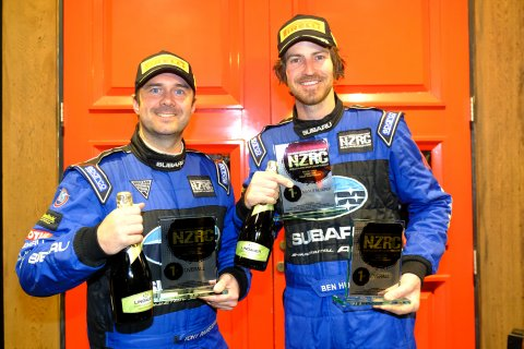 Holding up their third NZRC category win trophy from three rallies, co-driver Tony Rawstorn (left) and Ben Hunt have a healthy lead in the championship. PHOTO: GEOFF RIDDER.