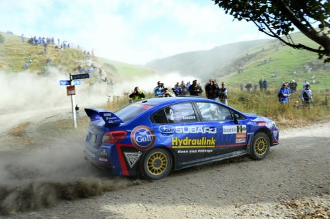 Ben Hunt and co-driver Tony Rawstorn are hoping some improvements to the Subaru WRX STi's  Motec computer system will translate to more speed at the International Rally of Whangarei this weekend. PHOTO: GEOFF RIDDER.