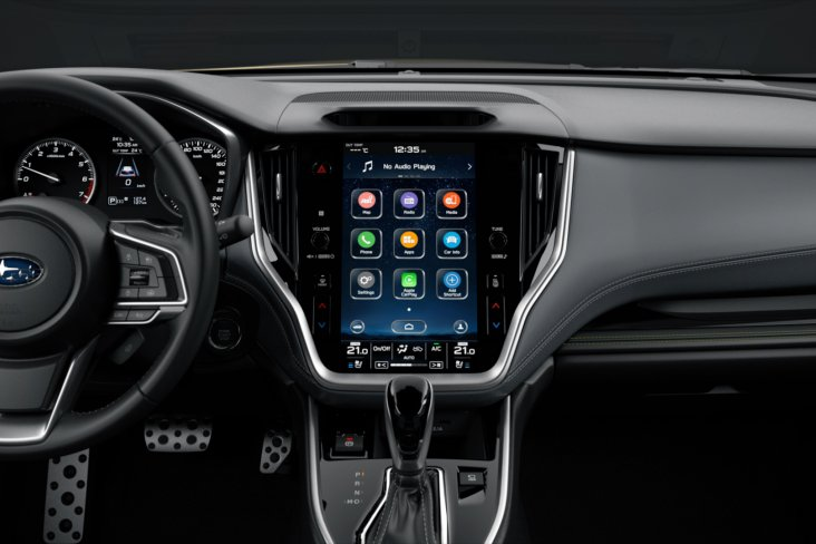 "The 2021 Subaru Outback features an 11.6"" touch screen and is the most luxurious and technologically advanced Outback ever. (Overseas model shown)."