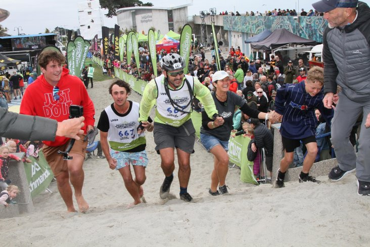 The Seelen family crossing the finish line at Kathmandu Coast to Coast