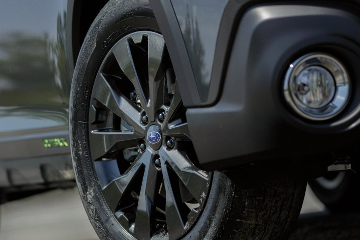 """The Subaru Outback X  looks sharp with black 18"""" alloy wheels."""