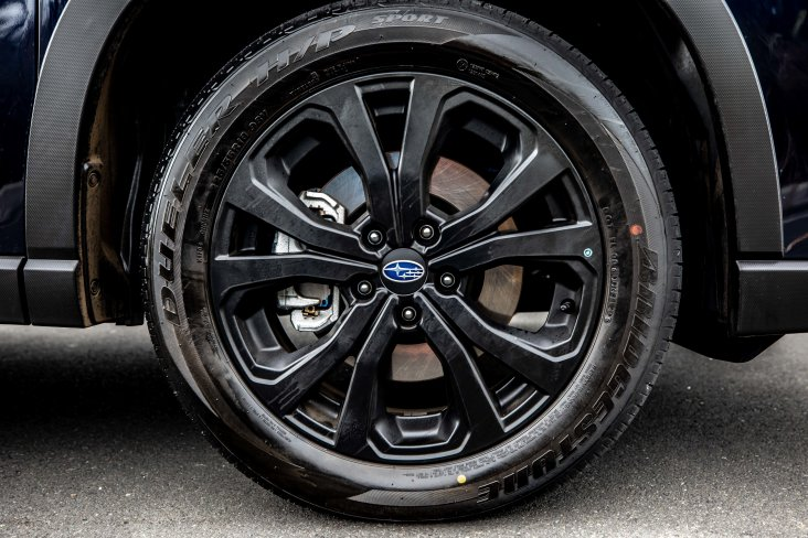 "Forester X has new 18"" black alloy wheels."