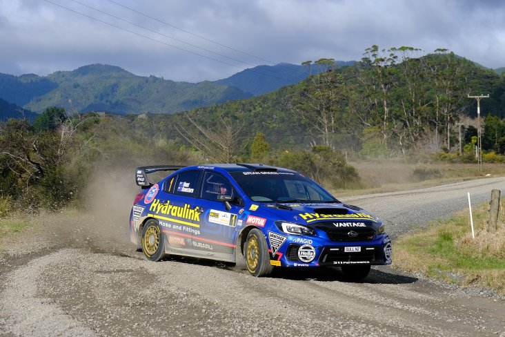 Ben Hunt's Subaru WRX STI on its way to wrapping up the Brian Green Property Group New Zealand Rally Championship today at the Coromandel Rally, with a round to spare. PHOTO: GEOFF RIDDER.