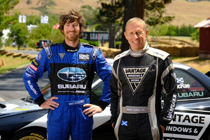 Subaru drivers Ben Hunt (left) and Alister McRae enjoy racing up Rod Millen's immaculately-prepared 1.6km driveway.