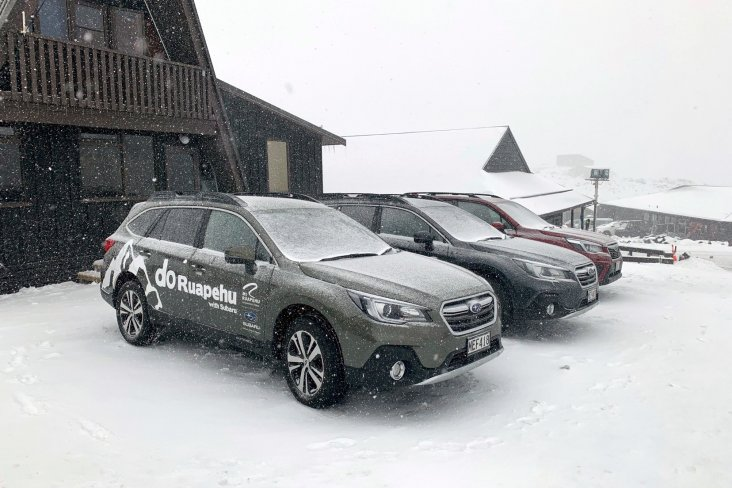 Lined up here in the snow, RAL's fleet of Subaru vehicles are the perfect cars for all conditions.