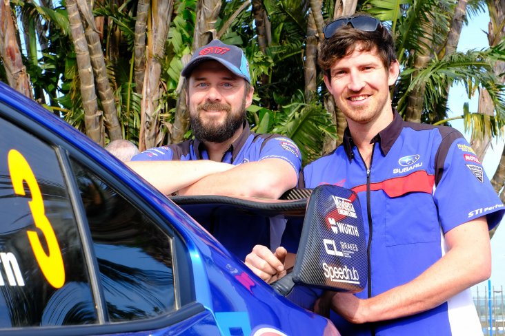 Co-driver Tony Rawstorn (left) and Ben Hunt with the Subaru WRX STi. PHOTO: GEOFF RIDDER
