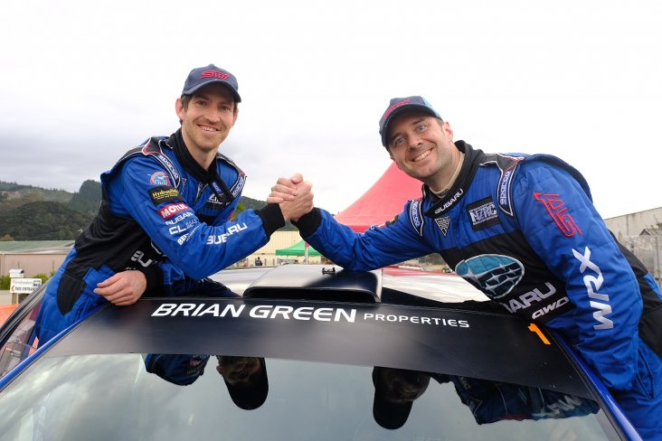 Ben Hunt and his co-driver Tony Rawstorn (right) celebrate winning the Brian Green New Zealand Property Group New Zealand Rally Championship today. PHOTO: GEOFF RIDDER.