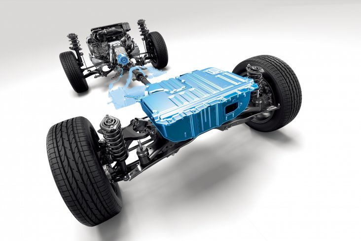 The Subaru e-Boxer Hybrid drivetrain is depicted on an overseas model in this image.