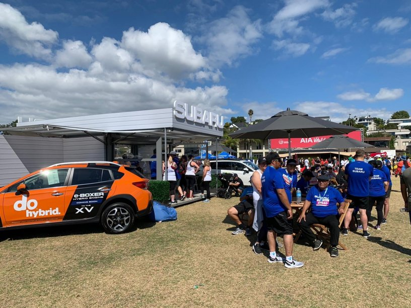 Subaru stand at Round the Bays 2020 with Hybrids coming soon.