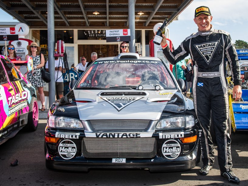 Vantage Subaru driver Alister McRae celebrates winning his third consecutive Leadfoot Festival title today. PHOTO: WISHART MEDIA.