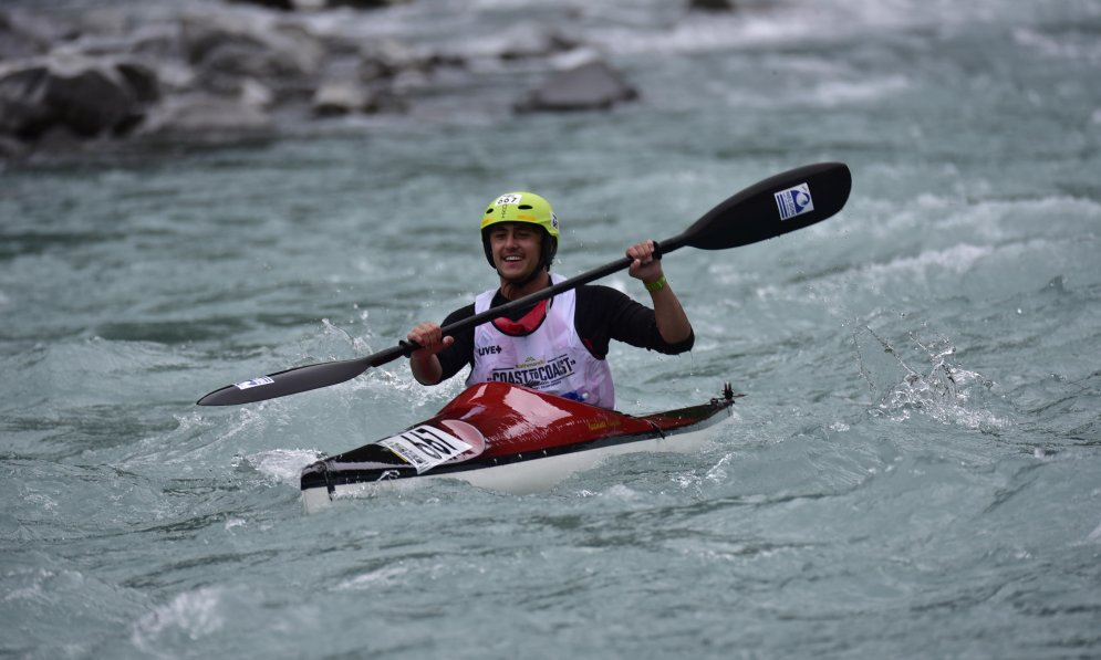 Ben Seelen took on the kayak leg and learning to roll would have helped him on the day.